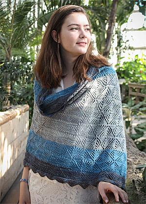 Pinwheel shawl in blue